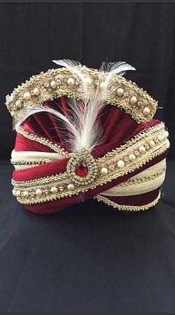 Stone Work Cream Georgette Red Velvet Wedding Turban For Groom DTT1235