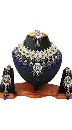 Stone Work Designer Necklace Set With Maang Tika NNP81606