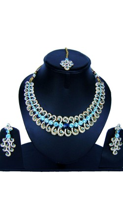 Stone Work Designer Necklace Set With Maang Tika NNP85108