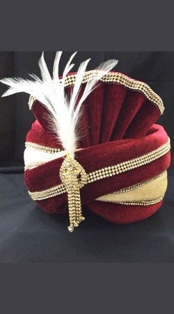 Stone Work Red Velvet Wedding Turban For Groom DTT135