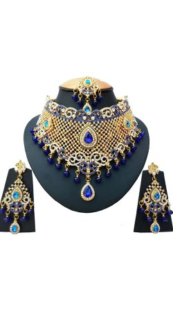 Stones Work Blue And White Necklace Set With Maang Tika NNP77403