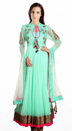 Stunning Aquamarine Net Readymade Designer Salwar Kameez SU15310