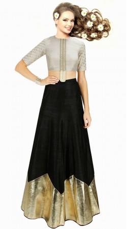 Stunning Black Dupion Silk Designer Crop Top Lehenga SUUDL2013