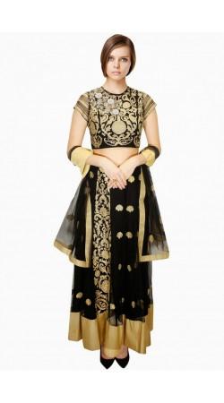 Stunning Black Net And Tissue Wedding Lehenga Choli With Dupatta SUUDL5514