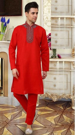 Stunning Bright Red Cotton Neck Embroidered Handwork Kurta Pajama DTEKP750