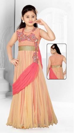 Stunning Cream Net Designer Readymade Kids Gown DT51942