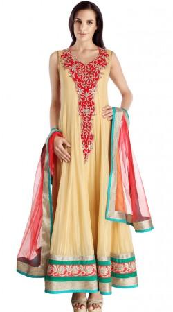 Stunning Cream Net Exclusive Salwar Kameez With Red Dupatta SU23111