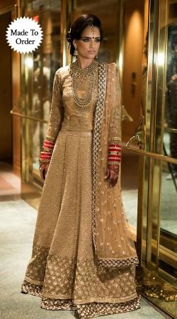 Stunning Cream Premium Fabric Replica Designer Bridal Lehenga Choli BP1103