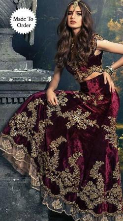 Stunning Floral Embroidered Dark Purple Designer Replica Lehenga Choli BP00407