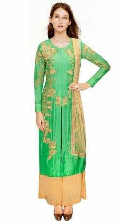 Stunning Floral Embroidered Light Green Silk IndoWestern Salwar Kameez SUMA2109
