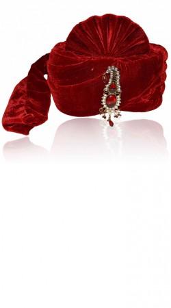 Stunning Kalgi Work Red Velvet Designer Groom Wedding Pagri ZP0306