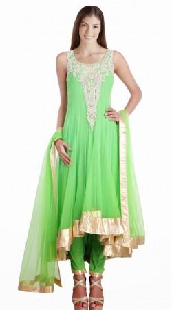 Stunning Light Green Net Readymade Asymmetrical Salwar Kameez SU19510