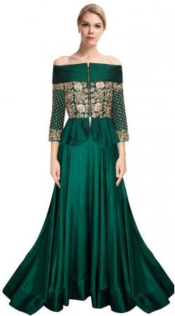 Stunning Rama Green Silk Lehenga With Embroidered Long Choli SUUDL9515