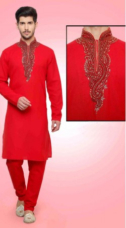 Stunning Red Cotton Fabric Neck Embroidered Kurta Payjama DTKP2151