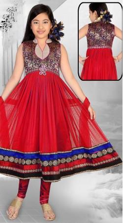 Stunning Red Net Designer Readymade Kids Suit  With Dupatta DT301241