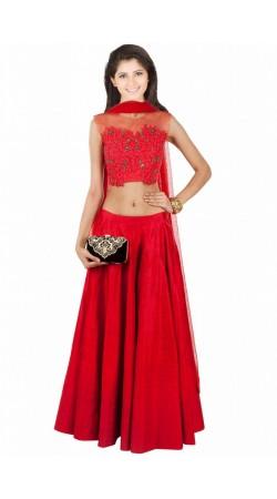 Stunning Red Silk And Net Wedding Lehenga Choli SUUDL8314