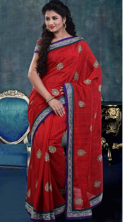 Stunning Red Raw Silk Diwali Saree With Matching Blouse ZP3104