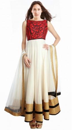 Stunning Resham Work White Georgette Party Wear Salwar Kameez SU24611