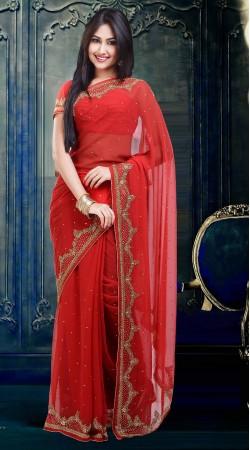 Stunning Stone Work Bright Red Faux Georgette Diwali Saree ZP2104