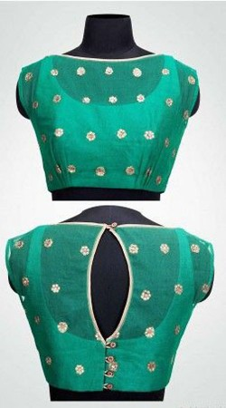 Stunning Turquoise Premium Fabric Designer Blouse For Saree BP3509