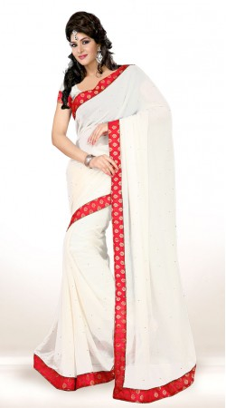 Stunning White Chiffon Red Border Stone Work Saree KCV3415607