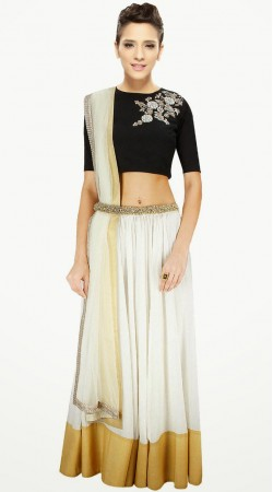 Stunning White Cotton Silk And Net Lehenga Choli With Dupatta SUUDL3313