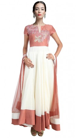 Stunning White Chanderi Silk Ankle Length Anarkali Suit SUUDS17902