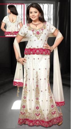 Stunning White Net Embroidered Lehenga Choli With Dupatta DT91639