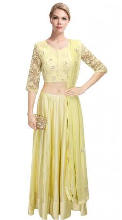 Stunning Yellowish Cream Silk Lehenga With Floral Embroidered Choli SUUDL10515