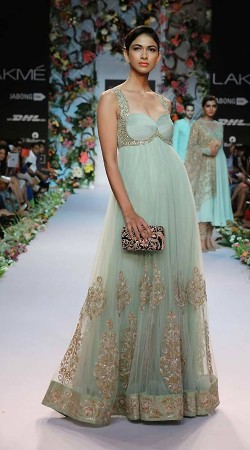 Stylish Aqua Net Embroidered Designer Replica Floor Length Anarkali BP1004
