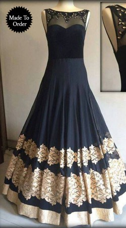 Stylish Black Georgette Silver Border Replica Floor Length Gown SMDS00G