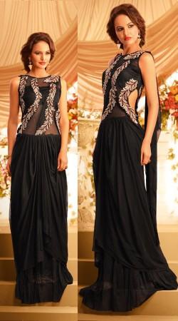 Stylish Black Net Designer Indowestern Saree Style Gown BR105691