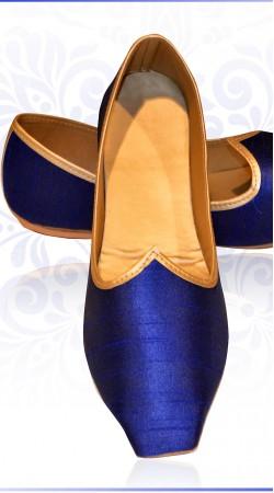 Stylish Blue Raw Silk Wedding Mens  Mojari For Sherwani ZP0107