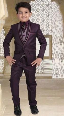 Stylish Dark Purple Premium Fabric Tuxedo Coat Pant For Kid Boy DT226653