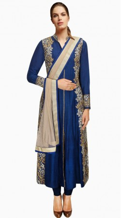 Stylish Embroidered Blue Silk Plus Size Salwar Kameez SUMA2009