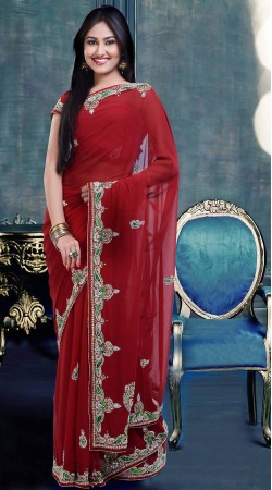 Stylish Embroidered Red Faux Georgette Diwali Saree With Blouse ZP1404