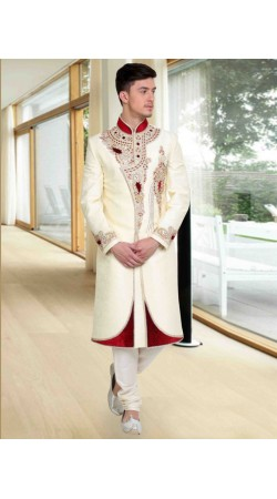 Stylish Embroidered White Brocade Designer Wedding Sherwani DTWSH2735