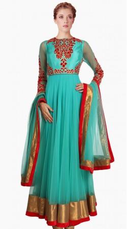 Stylish Firozi Net Party Wear Salwar Kameez With Dupatta SU21811