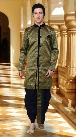 Stylish Green Art Brocade And Art Dupion Silk Dhoti Sherwani DT12738