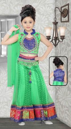 Stylish Light Green Net Readymade Kids Lehenga Choli With Dupatta DT702537