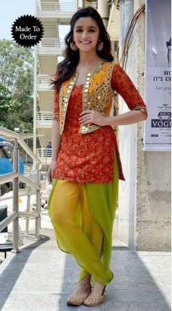 Stylish Mirror Work Koti Red Alia Bhatt Bollywood Replica Salwar Kameez BP0308