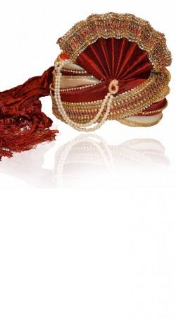 Stylish Moti Work Red Art Silk Designer Groom Wedding Pagri ZP0206