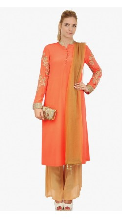 Stylish Orange Georgette Designer Suit With Palazzo Pant SUMS2412