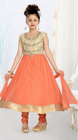 Stylish Orange Kasab Work Kids Girl Long Anarkali Suit DT10748