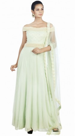 Stylish Pearl Moti Work Sea Green Plus Size Anarkali Suit SUMS34724
