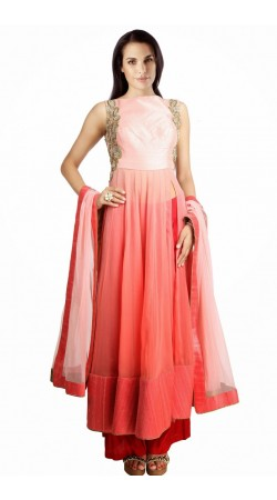 Stylish Pink Georgette Plus Size Salwar Kameez With Dupatta SUMS2112