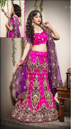 Stylish Pink Net Bridal Lehenga Choli With Purple Embroidered Dupatta LD00405