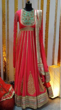 Stylish Pink Premium Fabric Designer Repica Floor Touch Anarkali BP2204