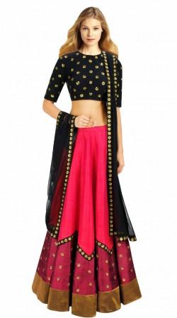 Stylish Pink Silk And Net Designer Lehenga Choli SUUDL4113