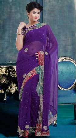 Stylish Purple Faux Georgette Stone Work Exclusive Saree ZP3704